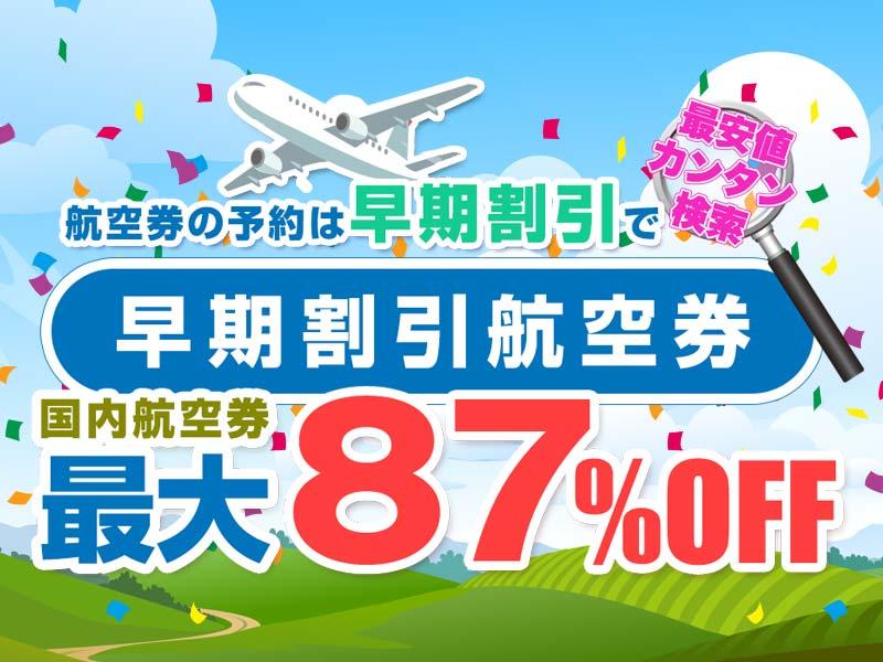 早期割引で国内航空券最大87%OFF